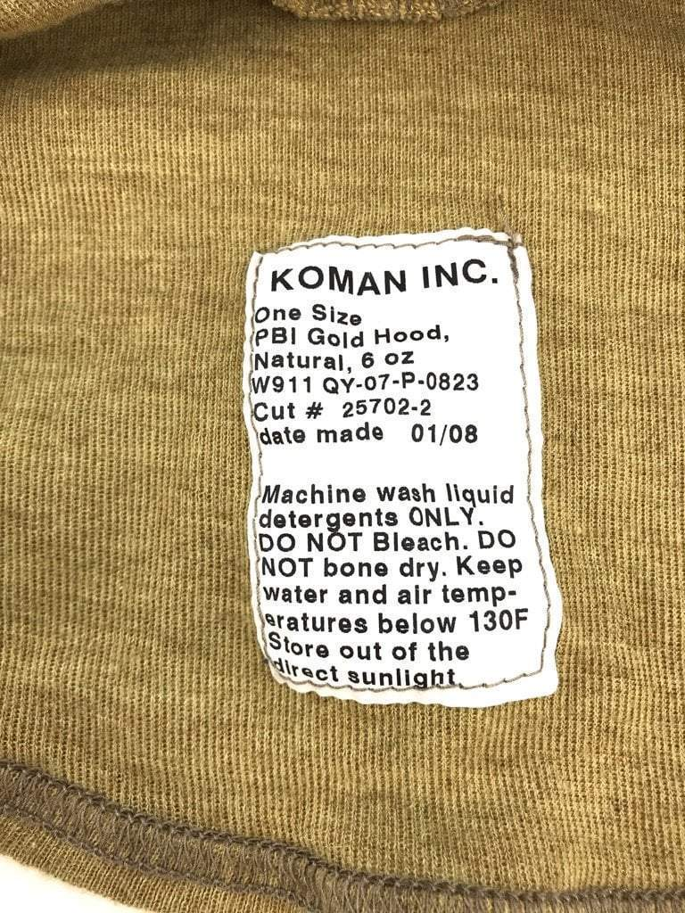 Koman PBI Gold Hood, Army Issue Flame Resistant Balaclava