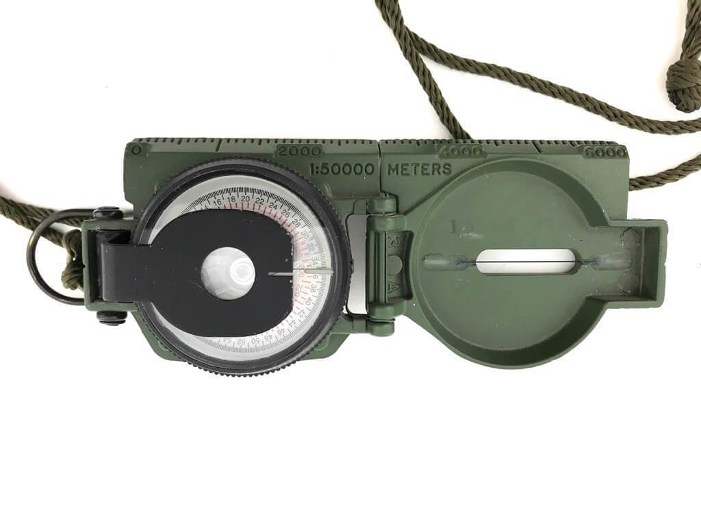 Pre-owned Army Lensatic Phosphorescent Compass, Model 27 Cammenga w/ Pouch